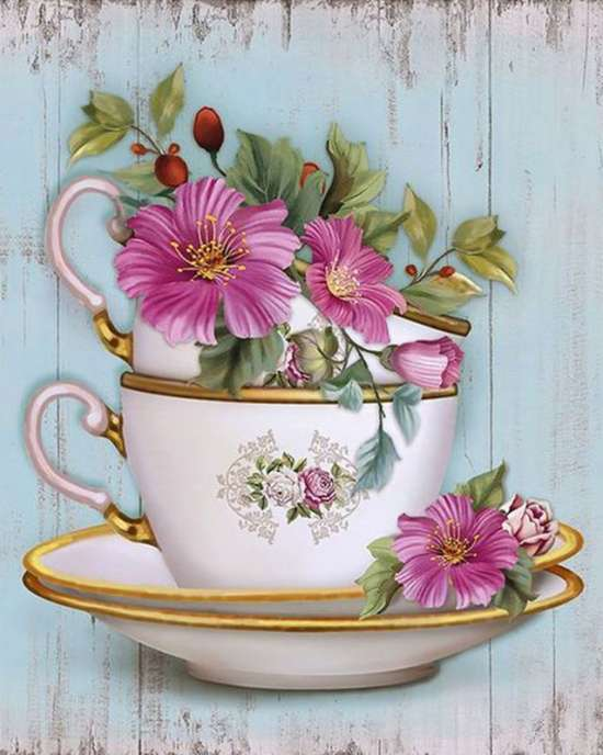 Картина по номерам 40x50 Маленькие цветочки в чайных чашечках